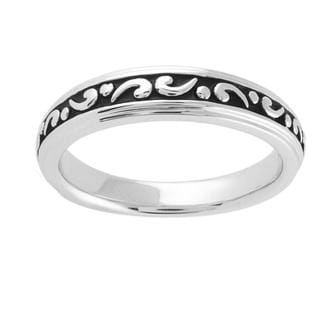 Sterling Silver Engraved Black Antiqued Wedding-style Ring