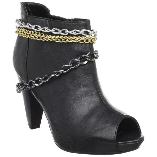 Fahrenheit Women's 'Luga-02' Black Faux Leather Peep-toe Booties