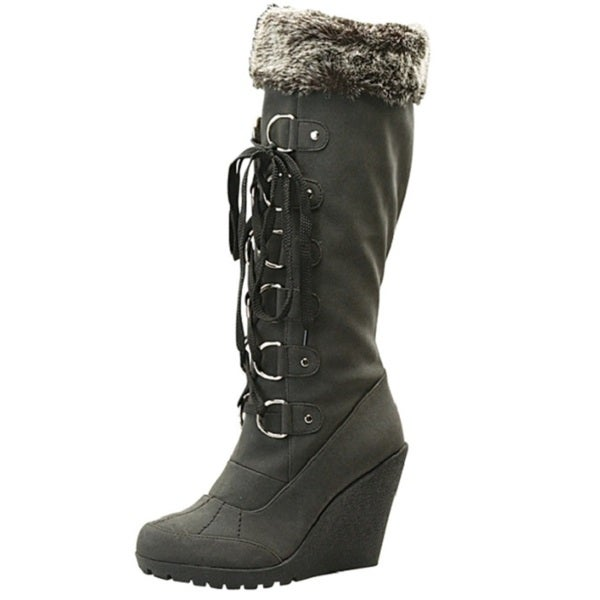 Toi et Moi Women 'Fedel-05' Black Micro-suede Lace-up Boots