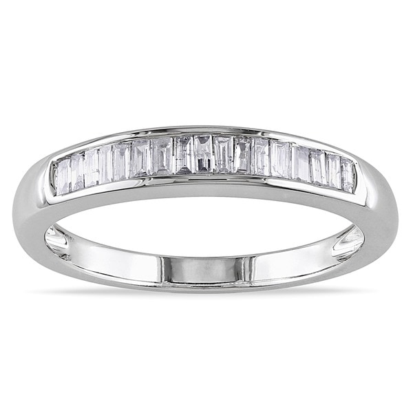 Miadora 14k White Gold 1/3ct TDW Certified Diamond Wedding Band