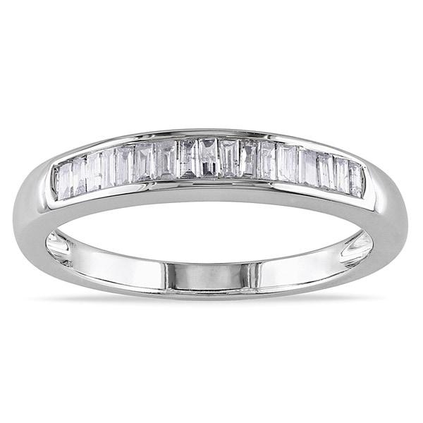 Miadora 14k White Gold 1/3ct TDW Certified Diamond Wedding Band