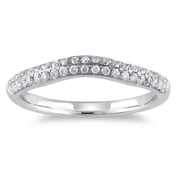 Miadora 14k White Gold 1/3ct TDW Diamond Curved Wedding Band (G-H, I1-I2)