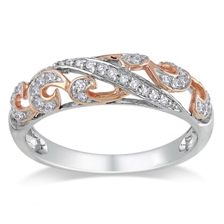 Sterling Silver 1/6ct TDW Pave Diamond Ring