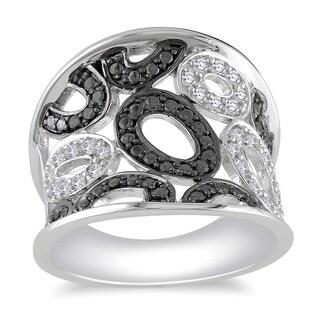 Miadora Sterling Silver 1/5ct TDW Diamond Ring