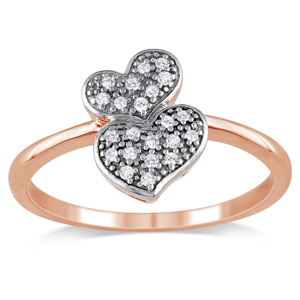 Miadora Rose Sterling Silver 1/10ct TDW Diamond Heart Ring