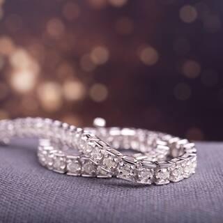Miadora Sterling Silver 3ct TDW Diamond Tennis Bracelet