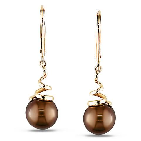 Miadora 14k Yellow Gold Brown Cultured Freshwater Pearl Dangle Earrings