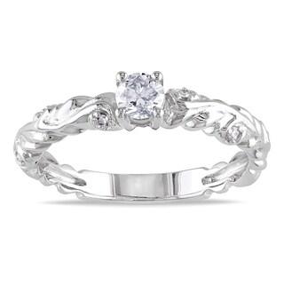 Miadora 14k White Gold 1/3ct TDW Diamond Promise Ring