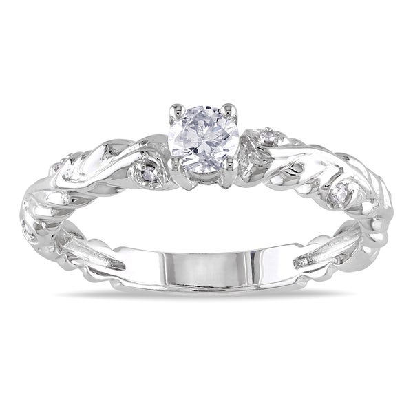 Miadora 14k White Gold 1/3ct TDW Diamond Promise Ring
