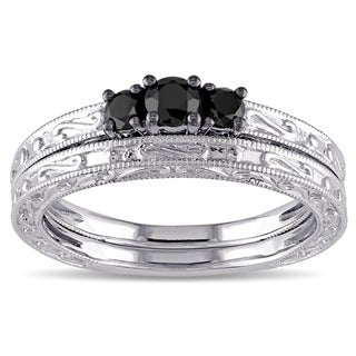 Miadora 10k White Gold 1/3ct TDW Black Diamond Bridal Ring Set