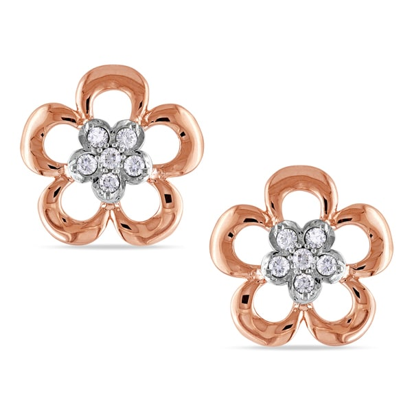 Miadora 10k Two-tone Gold 1/10ct TDW Diamond Earrings