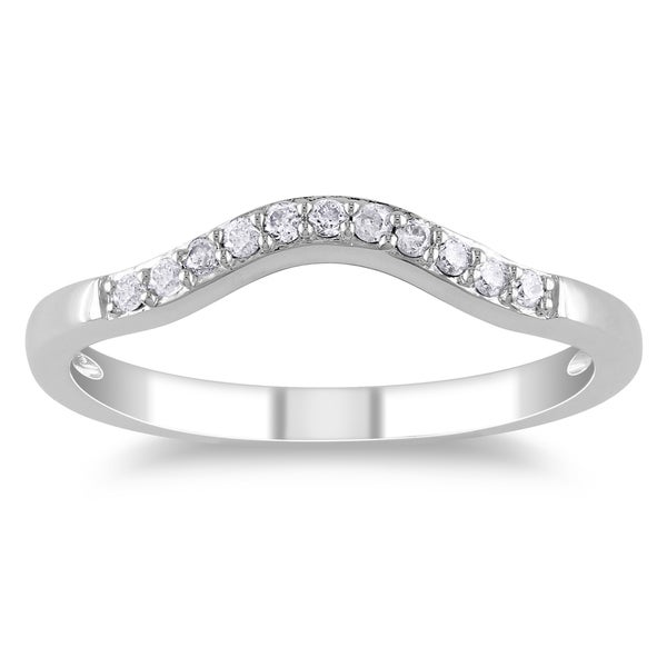 Miadora 14k White Gold 1/10ct TDW Diamond Contour Anniversary-style Stackable Wedding Band