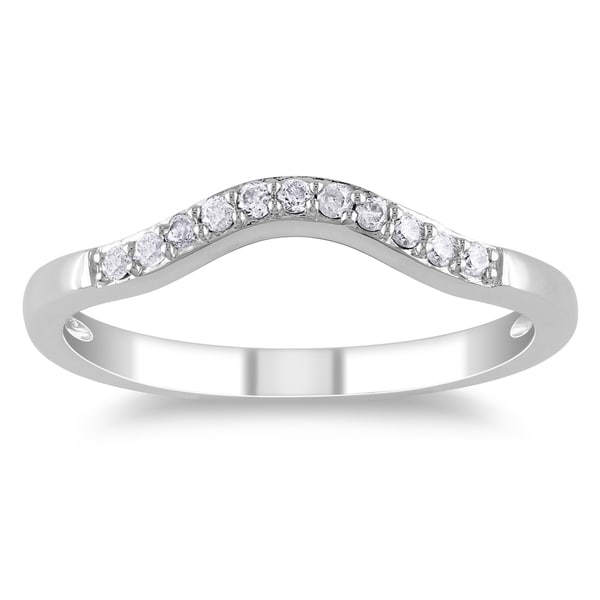 Miadora 14k White Gold 1/10ct TDW Diamond Contour Anniversary-style Stackable Wedding Band (G-H, I1-