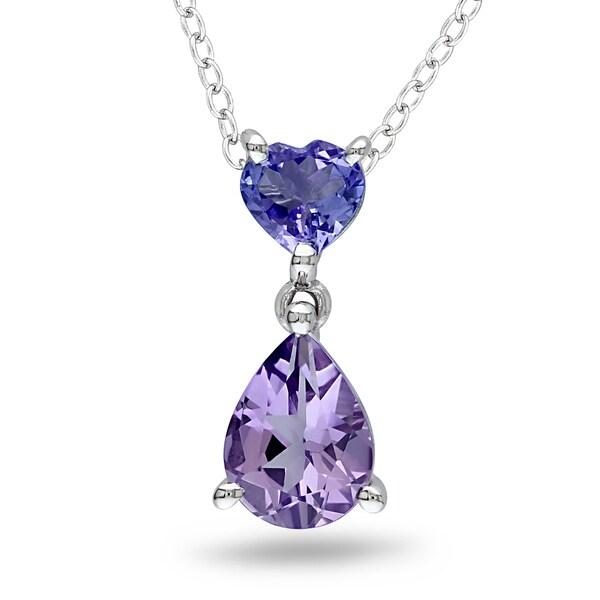 Miadora Sterling Silver Amethyst and Tanzanite Necklace