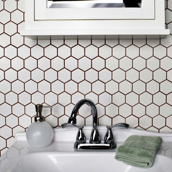 Somertile Victorian Hex Matte White Porcelain 10 5 Inch X 11 Mosaic Wall Tiles
