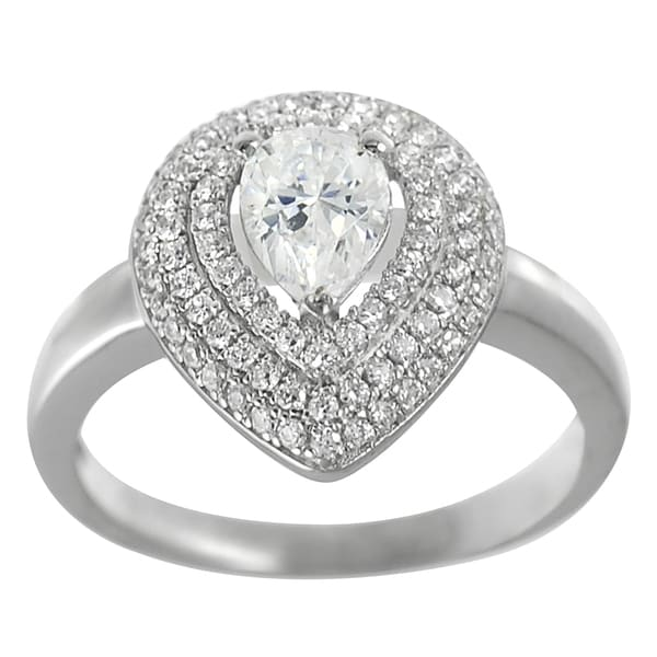 Journee Collection  Sterling Silver Cubic Zirconia Solitaire Anniversary Ring