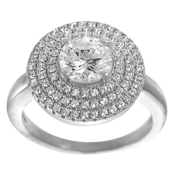 Journee Collection Sterling Silver CZ Solitaire Anniversary Ring