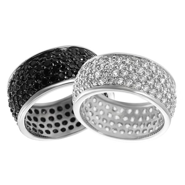Journee Collection Sterling Silver Cubic Zirconia Eternity Bridal-style Ring