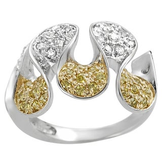 Journee Collection Two-tone Silver Cubic Zirconia Serpentine Petal Ring