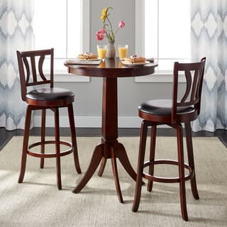 simple living mahogany finish 3 piece anderson pub set - Kitchen Table With Bar Stools