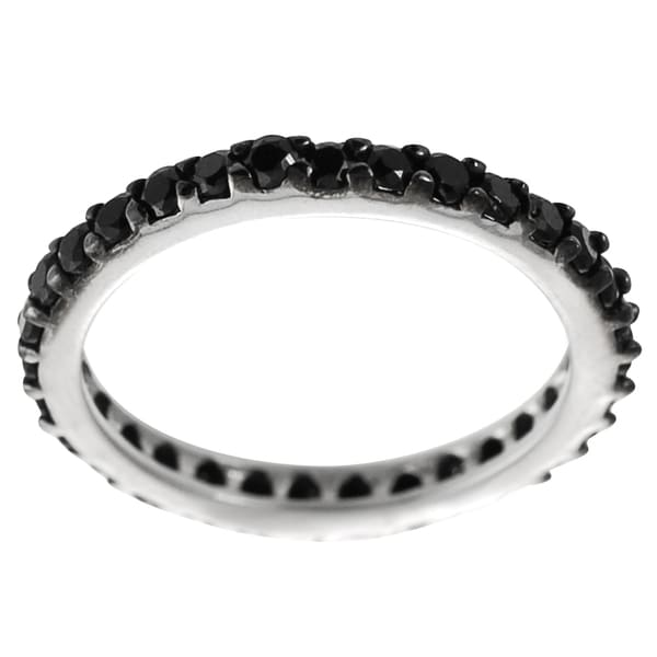 Journee Sterling Silver Black Cubic Zirconia Eternity Ring