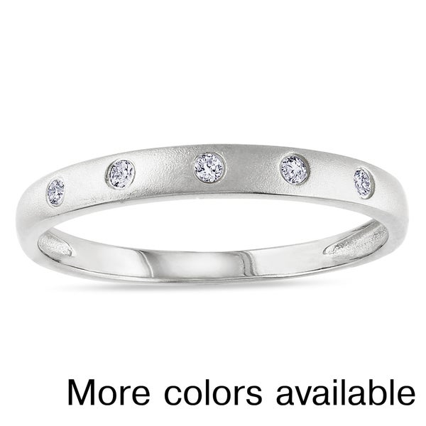 Plated Silver Diamond Accent Ring
