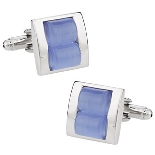 Cuff Daddy Silvertone Blue Fiber Optic Glass Cuff Links