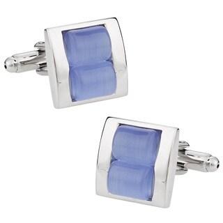 Cuff Daddy Silvertone Blue Fiber Optic Glass Cuff Links