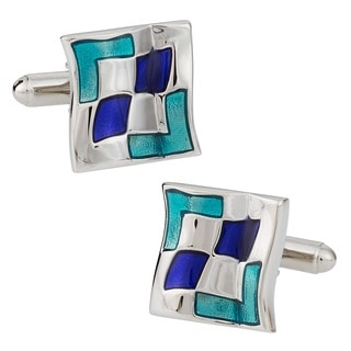 Cuff Daddy Silvertone Wavy Blue Cuff Links