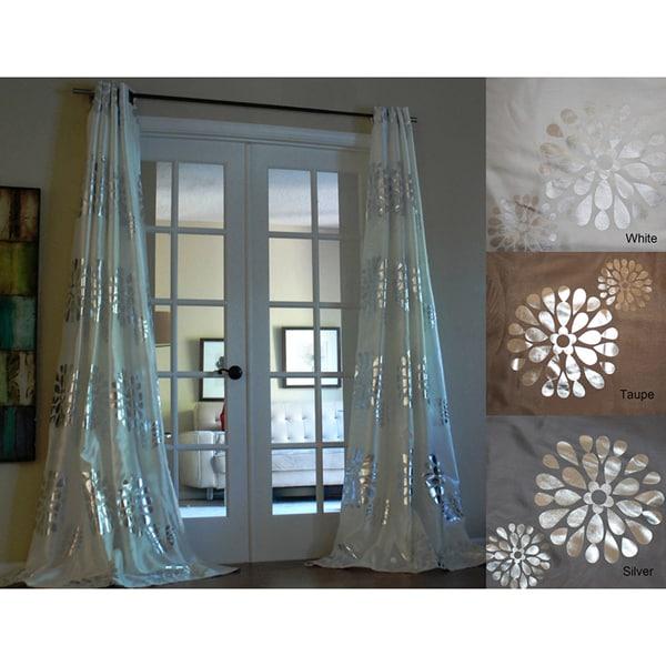 Lambrequin Sophie Modern Bold Metallic Flower Pattern 96-inch Grommet Panel Curtain