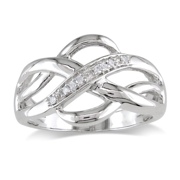 Miadora Sterling Silver Diamond Accent Infinity Ring