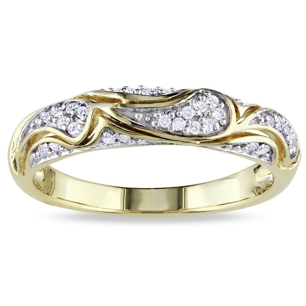 Miadora Yellow-plated Silver 1/10ct TDW Diamond Ring