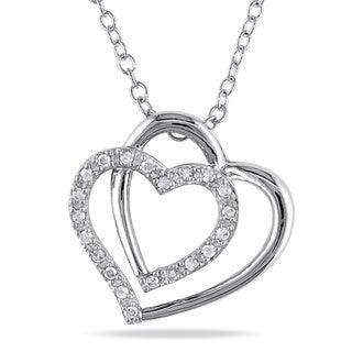 Miadora Sterling Silver 1/10ct TDW Diamond Double Heart Necklace