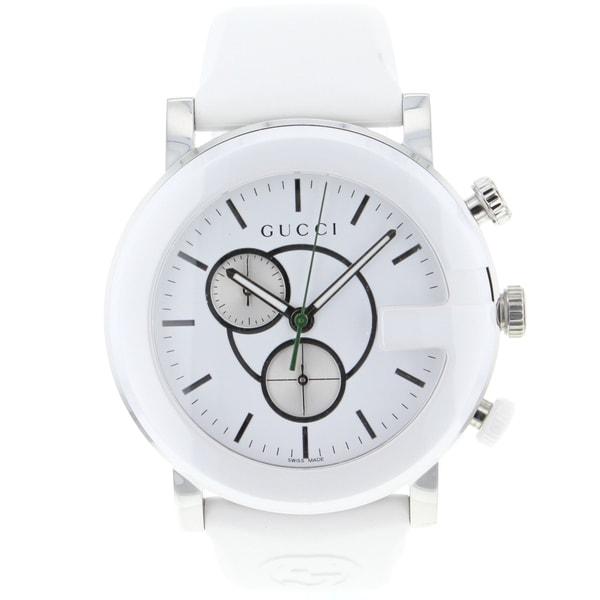 shop gucci mens white gchrono watch free shipping