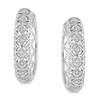 Miadora Sterling Silver 1/6ct TDW Diamond Hoop Earrings