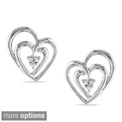 Miadora Sterling Silver Diamond Accent Heart Earrings