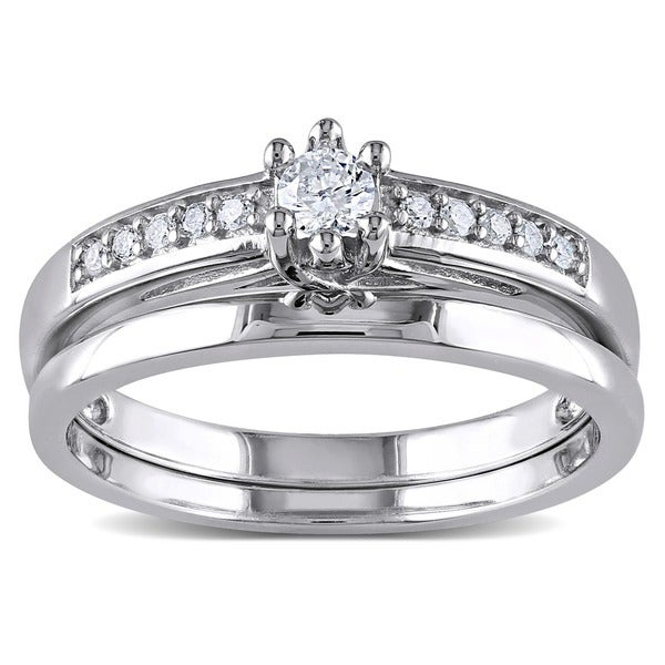 Miadora Sterling Silver 1/4ct TDW Diamond Bridal Ring Set (H-I, I2-I3)