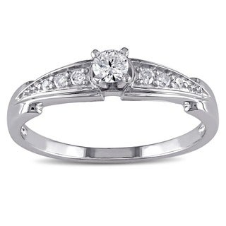 Miadora Sterling Silver 1/4ct TDW Diamond Promise-style Ring