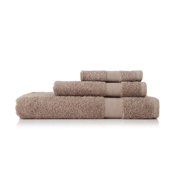 Pima Cotton Chevron Border Khaki 3-piece Towel Set