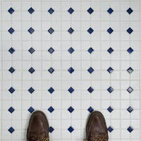 SomerTile 11.5x11.5-inch Cambridge Matte White with Cobalt Dot Porcelain Mosaic Floor and Wall Tile (10 tiles/9.2 sqft.)