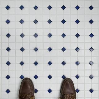 SomerTile 11.5x11.5-inch Cambridge Matte White with Cobalt Dot Porcelain Mosaic Floor and Wall Tile (10 tiles/9.38 sqft.)