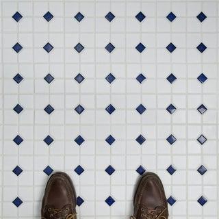 SomerTile 11.5x11.5-inch Cambridge Matte White with Cobalt Dot Porcelain Mosaic Floor and Wall Tile (10 tiles/9.38 sqft.)