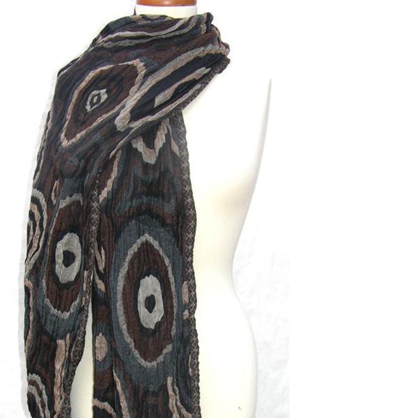 Handwoven Merino Wool Driftwood Textured Ovals Shawl (India)