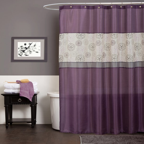 Shop lush decor covina purple shower curtain free shipping on orders over 45 Purple and black bathroom ideas