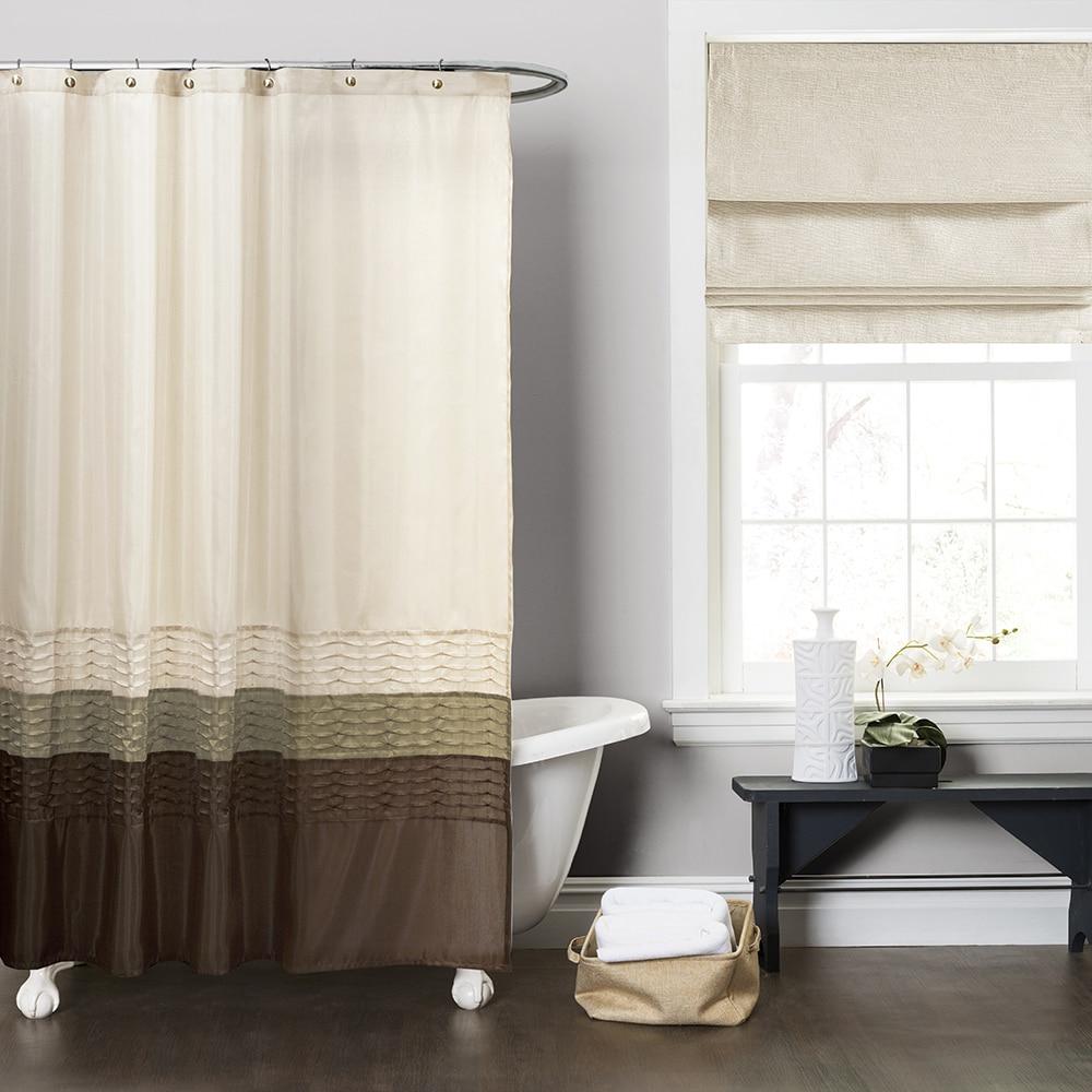 Lush Decor Mia Green Brown Shower Curtain