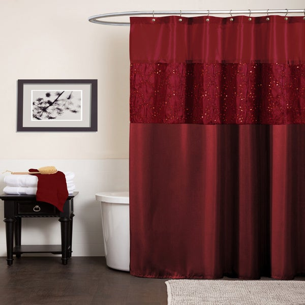Lush decor maria red shower curtain free shipping on for Bathroom ideas amazon