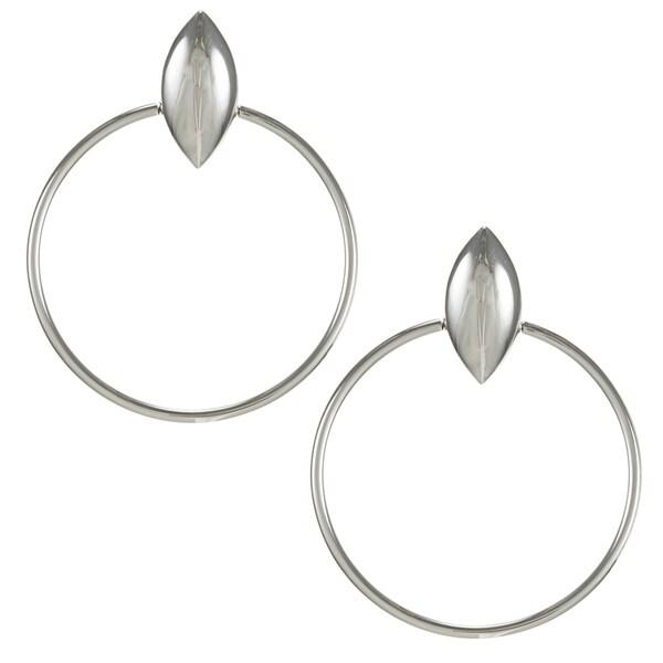 ELLE Rhodium-plated Sterling Silver Hoop Earrings