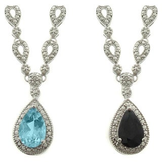 Dolce Giavonna Silverplated Gemstone and Diamond Accent Teardrop Dangle Necklace