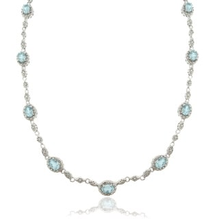 Dolce Giavonna Silver Overlay 8ct Blue Topaz and Diamond Accent Oval Link Necklace