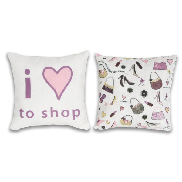 Love Shopping 8x8-inch Decorative Pillow Set (Set of 2)